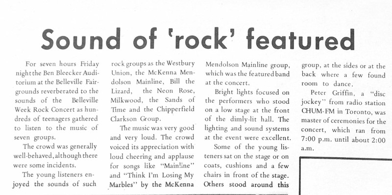 "from Belleville Times 1969 October 8th page 13<br /> Article (unsigned) by Paul Lantz :   ""Sound of 'rock' featured""<br /> First Paul Lantz article in the Belleville Times"