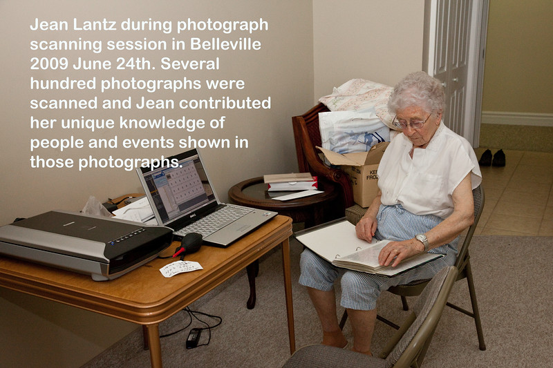 Jean Lantz during photograph scanning session in Belleville 2009 June 24th. Several hundred photographs were scanned and Jean contributed her unique knowledge of people and events shown in those photographs. Caption shown in photo.