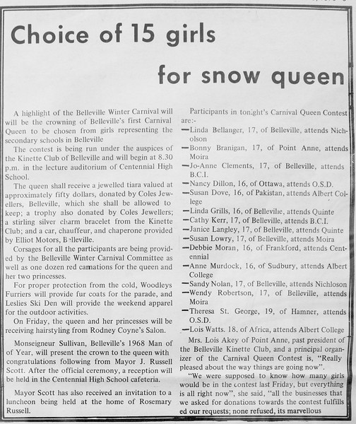 Belleville Times 1970 February 5 page 3 Choice of 15 girls for snow queen.