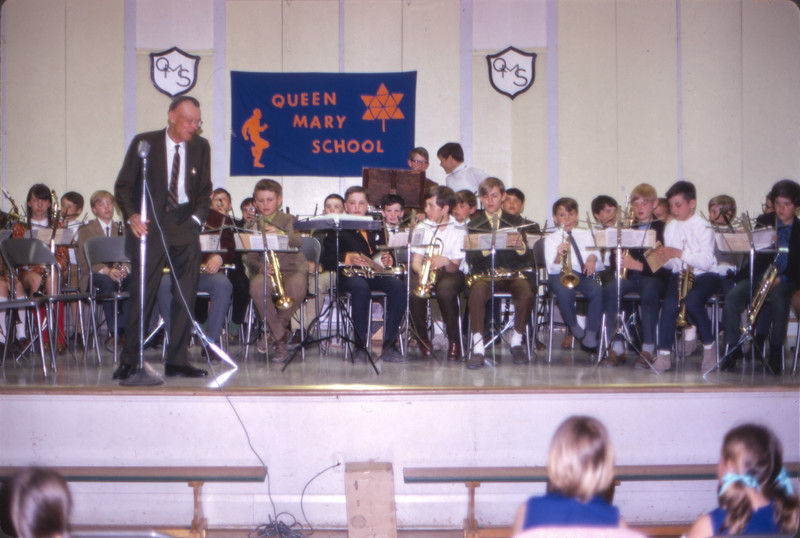 Band practice at Queen Mary School. Peter Lantz. Alfred Cooper bandmaster. May 1970