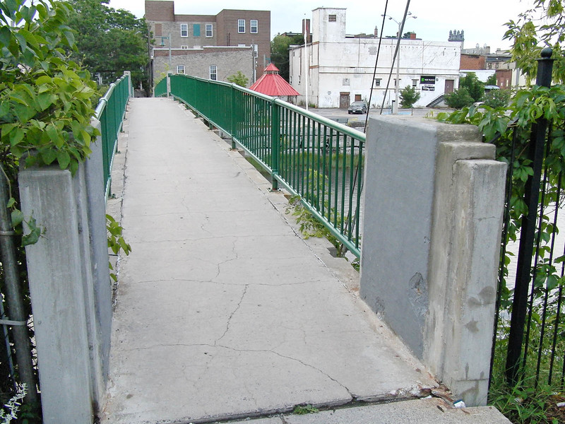 Foot bridge, one block from Eden Place leading to downtown