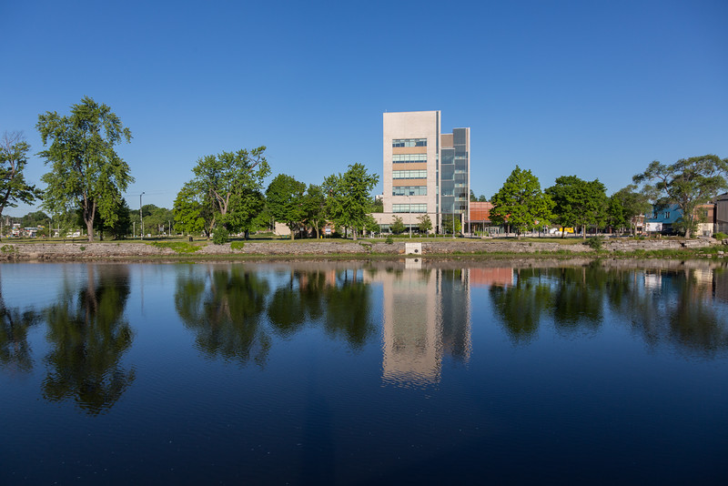 Quinte Consolidated Court House from across the Moira