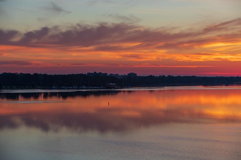 Belleville before sunrise from the Norris Whitney Bridge.