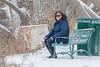 Denise Lantz sitting along the Moira River 2019 January 18.
