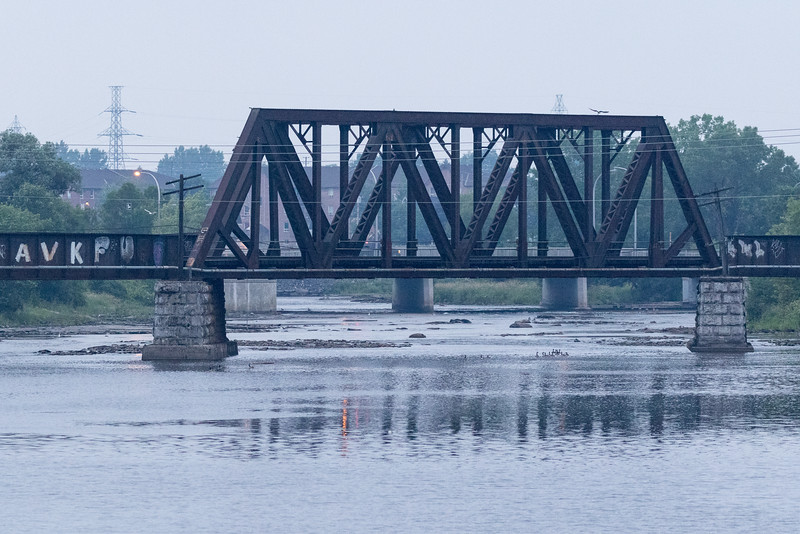 Centre span of Canadian National Railways bridge over the Moira River in Belleville.