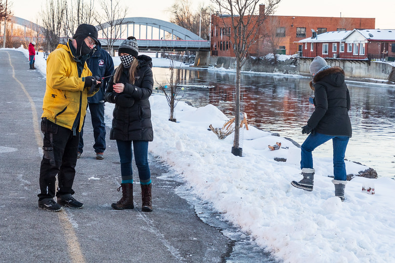 Moira Magic - A  project to help dispel the darkness of Winter set up along the Riverfront Trail next to the Moira River, an unbroken chain of softly lit, glowing snow lanterns.