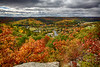 Fall foilage atop the Eagle's Nest in Bancroft overlooking part of the town. HDR efx deep 2.