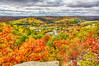 Fall foilage atop the Eagle's Nest in Bancorft overlooking part of the town. HDR efx bright proc from within Lightroom.