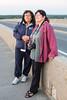 Denise Lantz and Jill Johns on the Norris Whitney Bridge before sunrise.