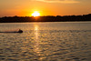 Personal watercraft on the Bay of Quinte at sunset.