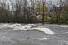 Turbulent water down from Lott Dam.