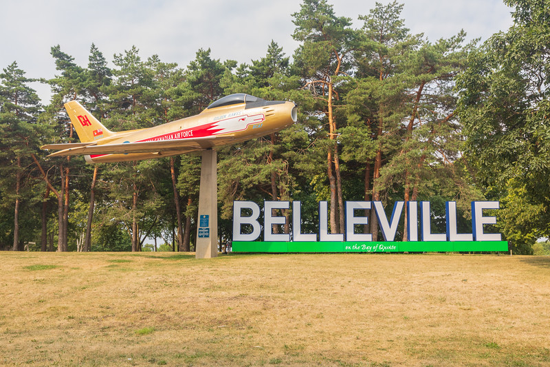 Belleville sign and Golden Hawks RCAF F-86 Sabre jet