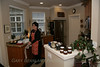 Kay in the kitchen.  The jars on the counter are Paul's trademark plum chutney.