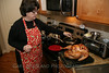 Kay cooks the turkey