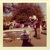 Class of 1963 homecoming float.  Photo courtesy of Toni Wiley Venz. We think the car is Susan Daniel's.  Who drove it in the parade?  Who are the guys standing there?