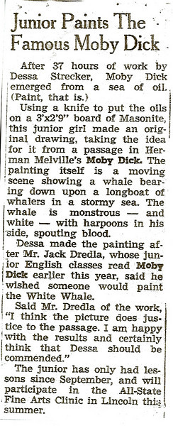 News article about Dessa's painting of Moby Dick for Mr. Dredla's junior English class.