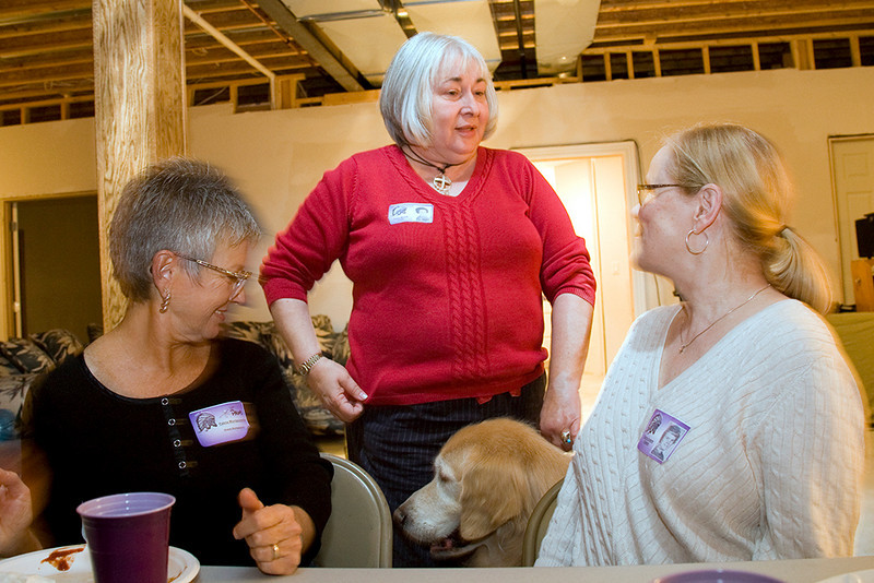 Pam Montgomery (Bob), Janis Morris Cook with dog, Walker, Sherry Anders Chastain.