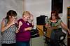 Center:  Gloria Anson McCaghy sings it! Left:  Sam, the DJ.  Right:  Kathy McMahan (Duane Menke)