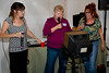 Center:  Gloria Anson McCaghy sings it! Left:  Sam, the DJ.  Right:  Kathy McMahan (Duane Menke)