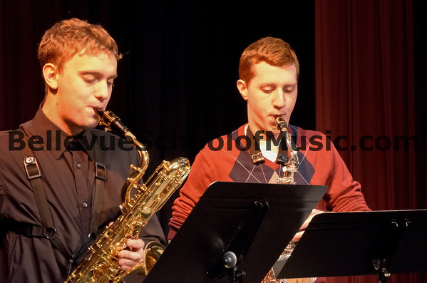 """Benjamin Zobel and Andrew Nelson<br /> Trio Miniatures by Walter Hartley<br /> """"Warm Up"""" Recital for the Solo and Ensemble Festival"""
