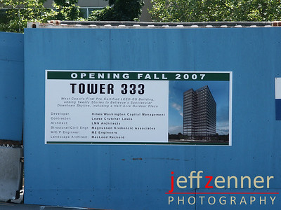 Tower 333 construction site in Bellevue.  Also referred to as Hines Tower, Hines 333, or Expedia Tower (site of the fatal crane collapse in Nov 2006) and future home of Expedia.333 108th Ave NE - at the corner of 108th Ave & NE 4th