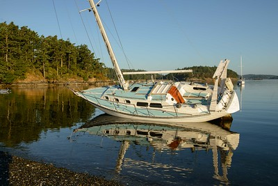 Opps, run aground in MacKaye Harbor