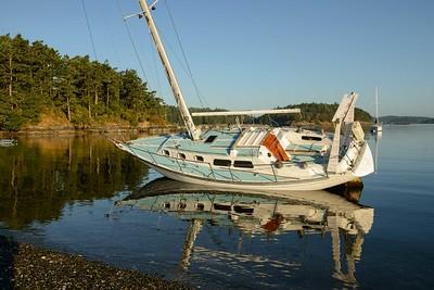 Opps, run aground in MacKaye Harbor