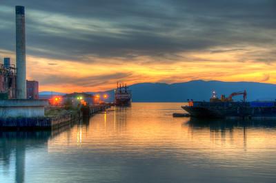 ship-smokestack-sunset