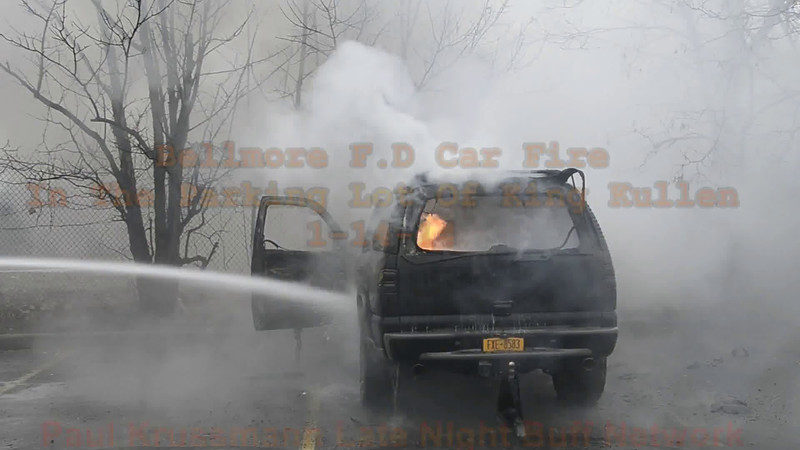 Bellmore F D Car Fire in the parking lot of King Kullen 1-14-14