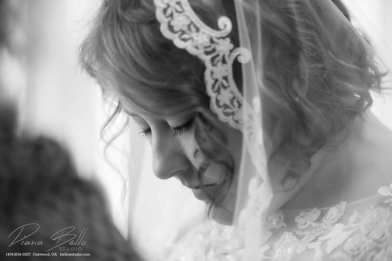 Bride in prayer.