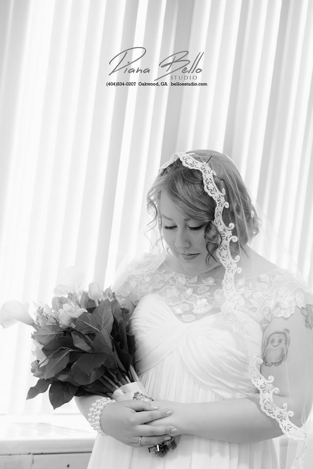 Bridal Portrait in Black and White - Playing with light and blinds available