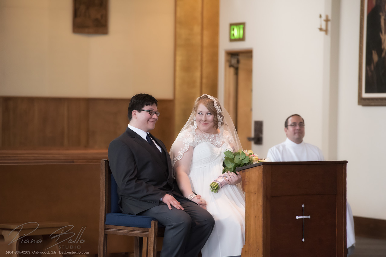 Bride and Groom at Christ the King Catholic Church in Seattle, WA