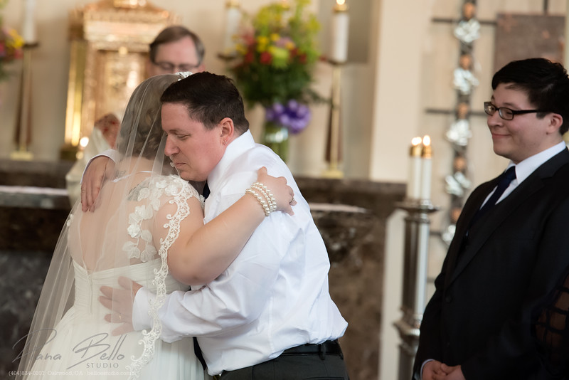 Emotional moments between bride and father
