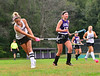 Bellows Falls' Maya Waryas hits a rocket into the gaol for the second point during a field hockey match at Bellows Falls Union High School on Tuesday, Sept. 14, 2021.