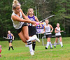 Bellows Falls' Maya Waryas takes an attempt on gaol during a field hockey match at Bellows Falls Union High School on Tuesday, Sept. 14, 2021.