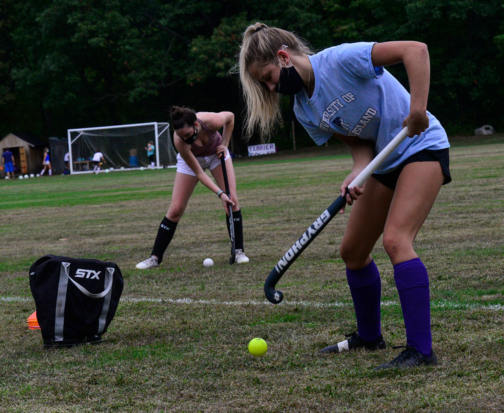 KRISTOPHER RADDER — BRATTLEBORO REFORMER<br /> Players on the Bellows Falls field hockey team practice different their skills on Thursday, Sept. 17, 2020.