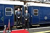 The Guards for the Belmond Grand Hibernian are provided by Iarnrod Eireann for the 2016 season. Train Guards Mark Tyrell of Cork & Noel Enright of Westport pose beside the train. Tues 30.08.16