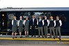 Belmond Grand Hibernian Staff pose beside the train at Heuston. Tues 30.08.16
