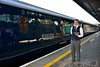 Guard Noel Enright & Waiter Mark O' Doherty pose in front of the Grand Hibernian at Heuston for the photographers. Tues 30.08.16