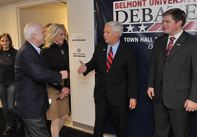 Belmont President Dr. Bob Fisher welcomes Senator John McCain with SGA President Eric Deens during the Debates at Belmont University in 2008.