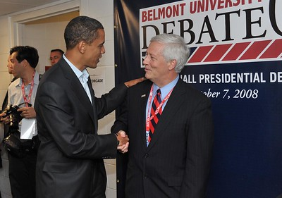 Belmont President Dr. Bob Fisher welcomes Barack Obama during the Debate at Belmont University in 2008