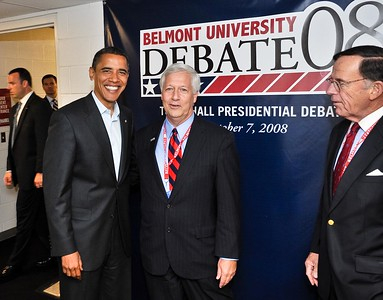 Belmont President Dr. Bob Fisher welcomes Barack Obama during the Debate at Belmont University in 2008.
