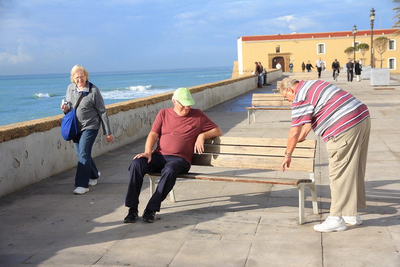 Linda.. Big Al & Frankie D checking out the new bench in Cadiz, Spain