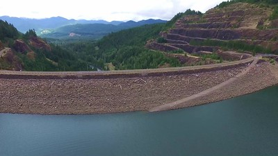 Flying above Cougar Dam 1