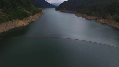 Flying above Cougar Dam 3