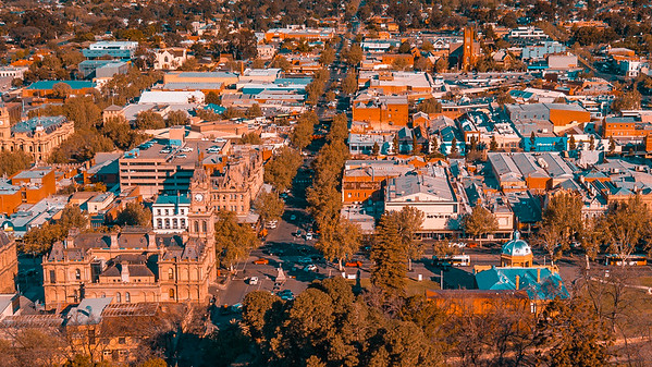 Bendigo CBD - Orange and Teal