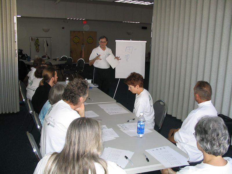 Certified Chi Kung Instructor, Phillip Szpiech, demonstrates how to write Chinese characters to the Bending Tree Tai Chi Kung Instructor Trainees.  Oct 18, 2003
