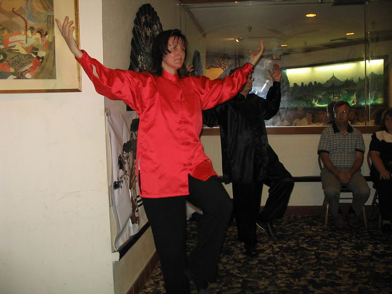 Certified Instructors, Judith Forsyth and Phillip Szpiech, with Bending Tree Tai Chi Kung demonstrate Lotus Flower Blooming as part of the Chi Kung Longevity Tree.  It was quite a challenge as the floor was slanted with padded carpet, the space was so small that they couldn't do a full circle and the overhead system was playing fast and load Chinese music!  Still the Wu Chi was there!
