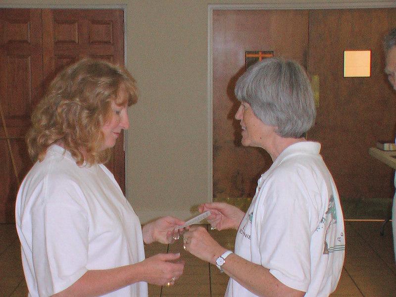 Daphane Overstreet received her graduation card from Instructor Bonnie Osborn at Emmanual Episcopal Chursh May 31, 2006 Longevity Tree.