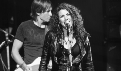 """One of my favorites...from the big screen....Georgia Middleman singing with her new band """"Blue Sky Riders"""" (includes Kenny Loggins and Gary Burr)...being accompanied by Keith Urban!  So cool because Georgia co-wrote Keith's big hit a couple years ago...""""I'm In""""!"""